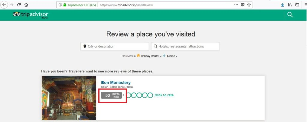 Review places on Tripadvisor to earn JPMiles