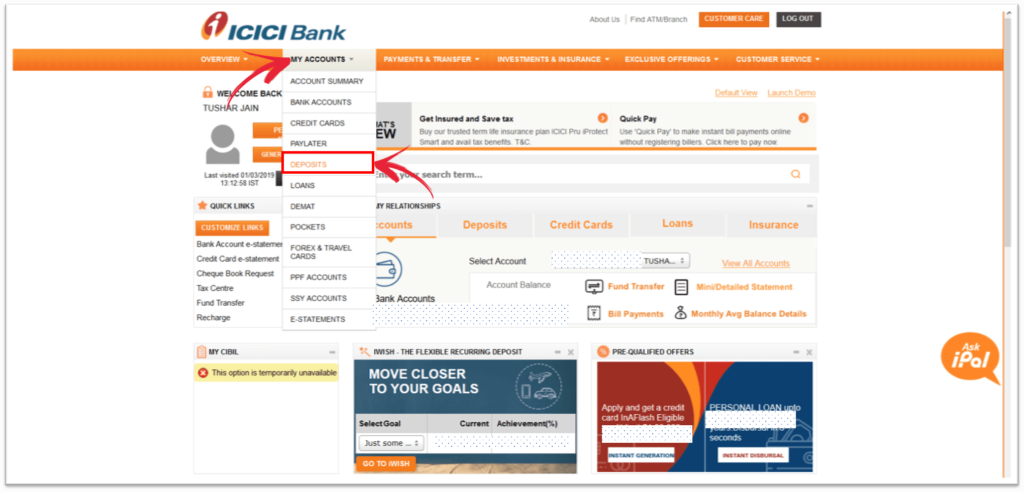 Finding iWish within ICICI Bank application